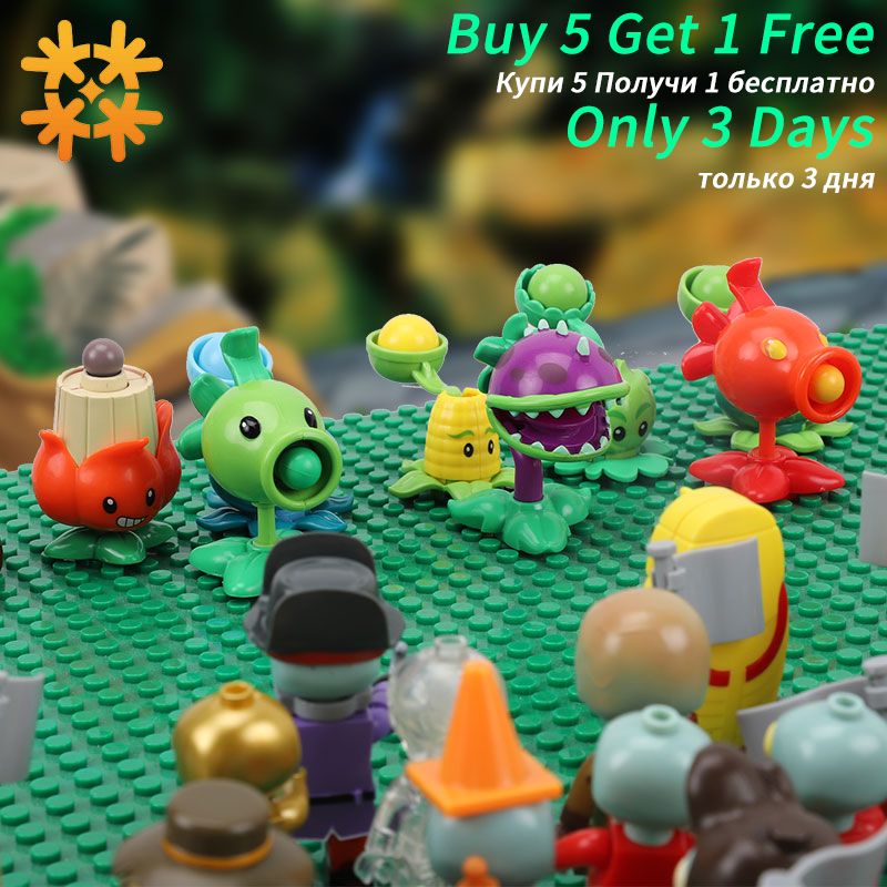 Plants Vs Zombies Figures Building Blocks PVZ Action Figures LegoED Role Play Battles Learning Toys For Children Collection Toys