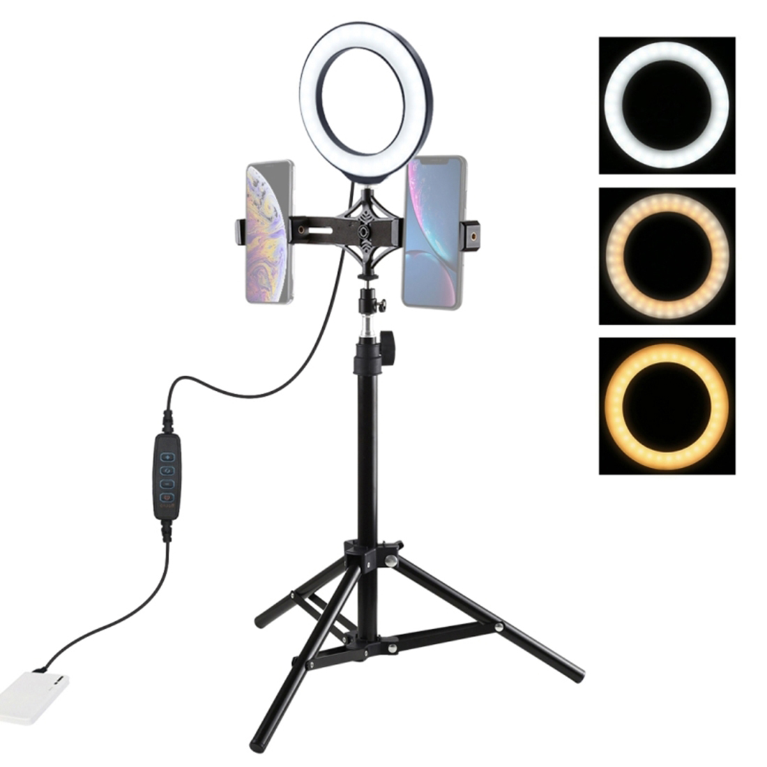 6.2 Inches Adjustable USB LED Ring Light Selfie Fill Light With Double Mobile Phone Holder And 70cm Tripod Bracket