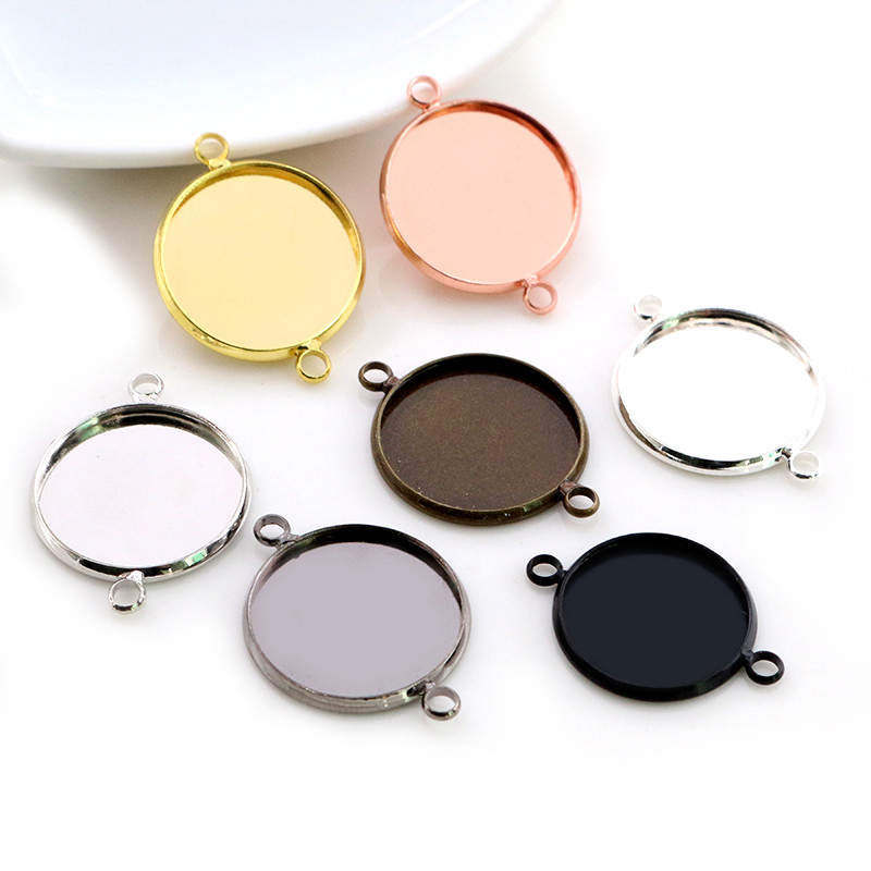 10pcs 14mm 16mm 18mm Brass Material 7 Colors Plated Double Hanging Style Cameo Setting Base Cabochon Setting Connector