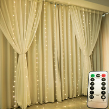 3M LED wróżka świąteczna łańcuchy świetlne pilot USB girlanda żarówkowa na nowy rok kurtyna lampa dekoracja świąteczna dla domu okno sypialni tanie tanio NoEnName_Null CN (pochodzenie) ROHS 1 year CHRISTMAS Silver Wire Przycisk komórki Żarówki led Brak 300cm 1-5 m WHITE