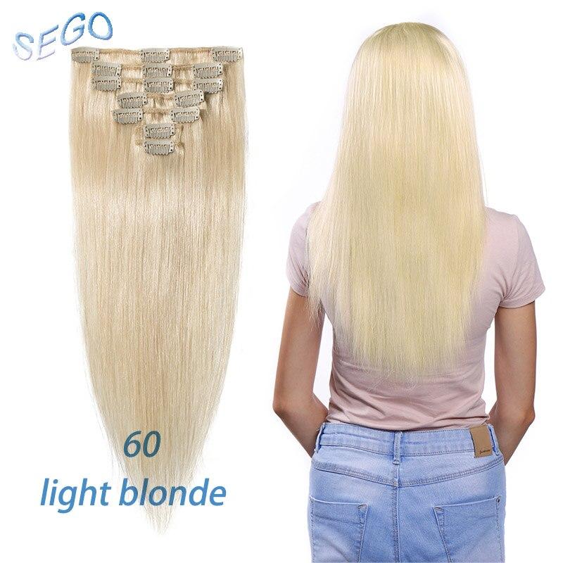 """SEGO 1""""-22"""" 70 г Прямой зажим синтетических Пряди человеческих волос для наращивания фабричного производства-Реми 7 шт./компл. бразильский волос чистый и фортепиано Цвет - Цвет: #60"""