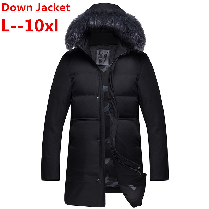 Plus Size 10XL 8XL 6XL 5XL  New Down Jacket For Men Brand Clothing Long Winter Thick Warm Duck Down Jacket Male Top Quality