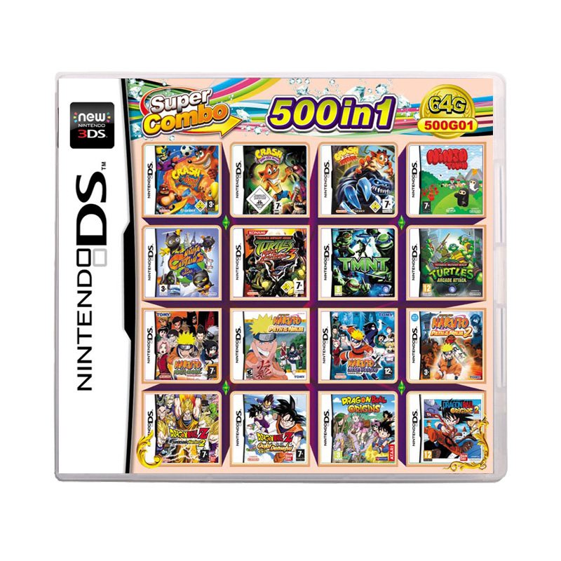 500 In 1 Compilation Video Game Cartridge Card For Nintendo DS 3DS 2DS Super Combo Multi Cart