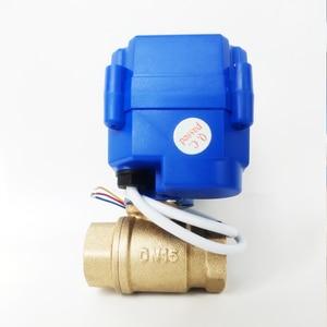 "Image 2 - 1/2 ""صمام المحرك الكهربائي النحاس ، DC12V صمام بمحرك مع 3 أسلاك (CR02) ، DN15 صمام كهربائي للتحكم في المياه"
