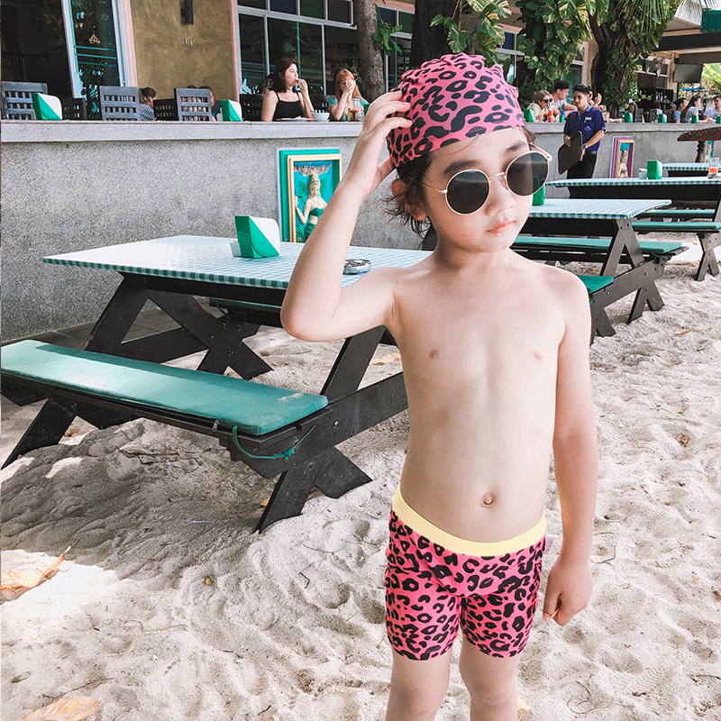 Hot Springs Leopord Pattern Boxer Big Boy Swimming Trunks BOY'S AussieBum Swimming Trunks Cute Korean-style Swimwear With Swim C