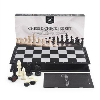 Jeu d'échecs International mégnétique haut de gamme avec jeu de damme Backgammon inclu pliable 1