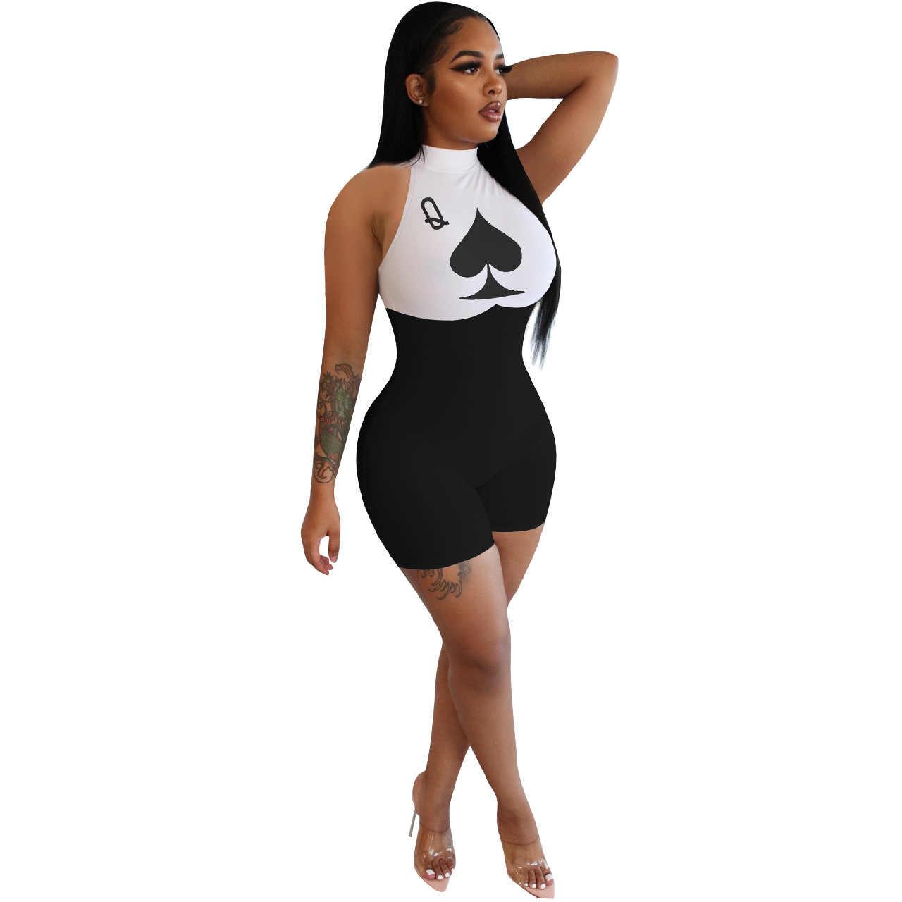 Padat Warna Poker Sekop Q Cetak Musim Panas Wanita Jumpsuit Eropa dan Amerika Gaya Seksi Model Fashion