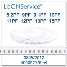 LoCNService Capacitors 4000PCS 0805 2012 COG/NPO RoHS 50V 0.5% 5% 8.2PF 9PF 9.1PF 10PF 11PF 12PF 13PF 15PF SMD High quality