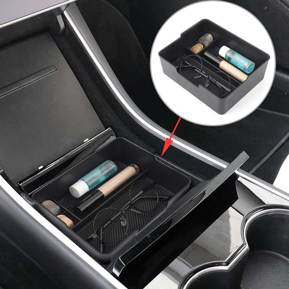 Tray Organizer-Insert Center-Console Car-Storage Auto-Accessories Tesla-Model Stuff Black title=