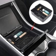 Organizador de apoyabrazos para coche bandeja de material ABS negro, accesorios para coche, para Tesla modelo 3, 2017, 2018, 2019