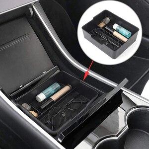 Image 1 - Pour Tesla modèle 3 2017 2018 2019 Console centrale organisateur insérer ABS noir matériaux plateau voiture stockage Auto accessoires trucs