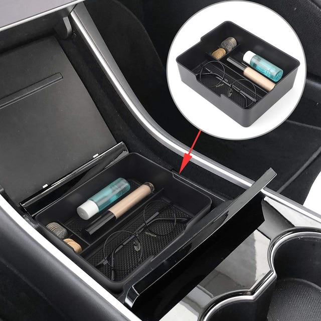 Pour Tesla modèle 3 2017 2018 2019 Console centrale organisateur insérer ABS noir matériaux plateau voiture stockage Auto accessoires trucs