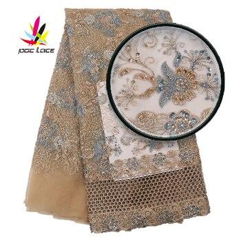 Ткань dobby, индийская кружевная ткань с блестками, тюль, хлопок, вуаль, африканская печать, вышивка блесток, тюль, Дубай, шампань, золото XZ2925B
