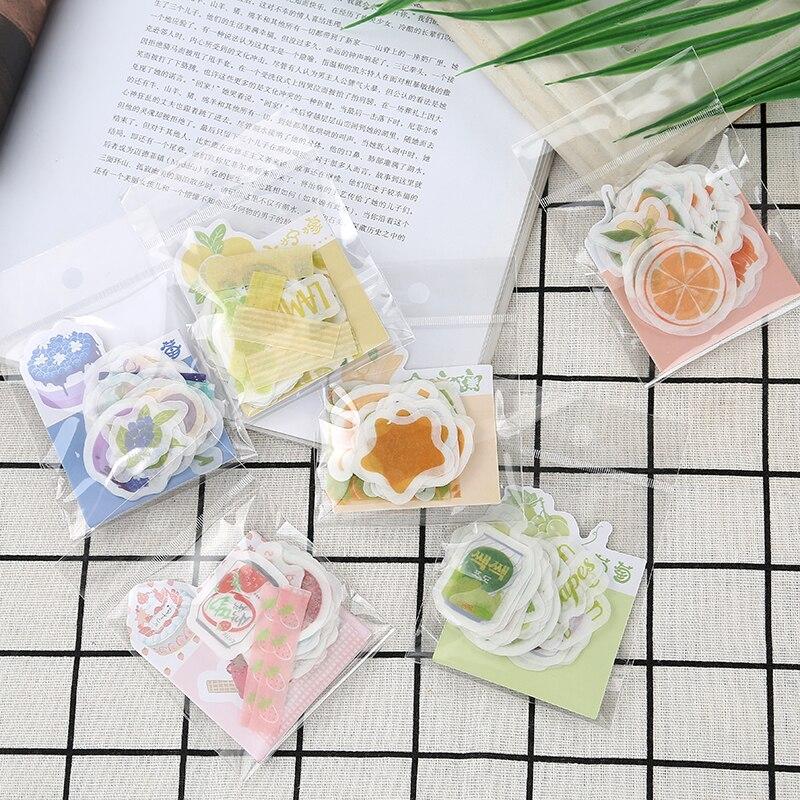 50pcs/Pack Kawaii Strawberry Orange Banana Lemon Grape Paper Stickers Hand Account Decor Notebook Decorative Sticker Kids Gift