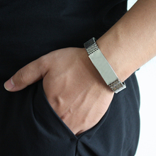 European and American Mens Bracelet Personality Fashion Titanium Steel Silicone Fadeless Mesh Belt