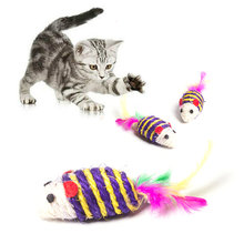 1Pc Cat Toys False Mouse Pet Cat Toys Mini Funny Playing Toys for Cats with Colorful Feather Mini Mouse Cat Scratch Nip Toys(China)