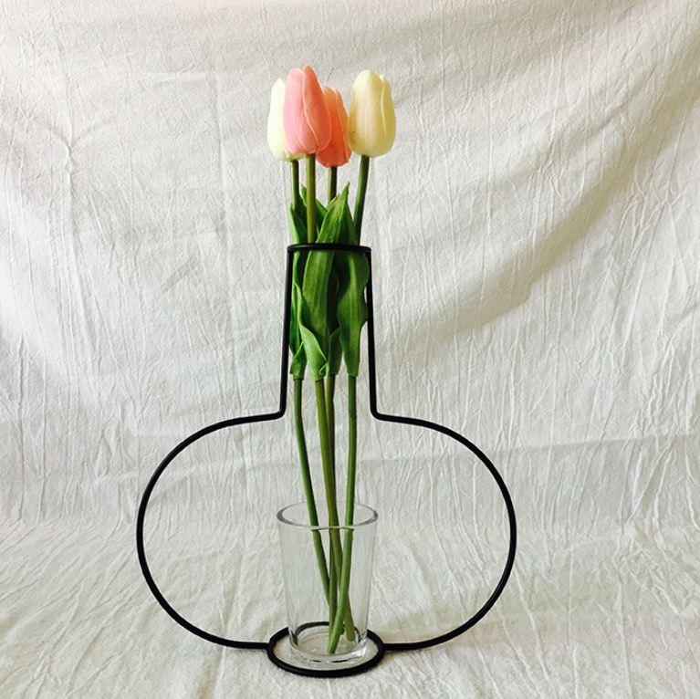 Новая креативная ваза DIY вечерние ваза черный держатель для растений подставка держатель железный провод цветок вазы орнамент жизнь - Цвет: F