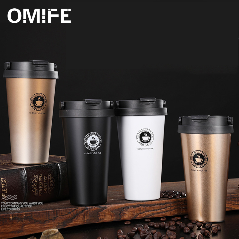 Omife 500ml Stainless Steel <font><b>Cup</b></font> Coffee Mug Travel <font><b>Coffe</b></font> Mugs Cafe Tea Cute <font><b>Cups</b></font> With Lid eco friendly Products For Gifts Office image