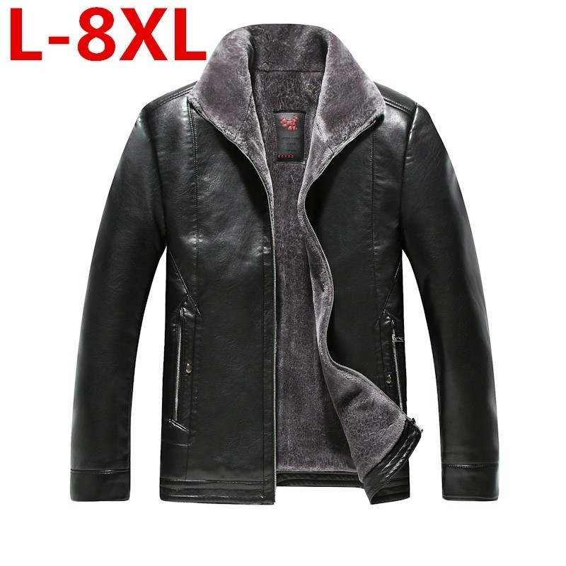 Plus Size 8XL Men High Quality Genuine Jacket Winter Fur Sheepskin Coat For Men's Jacket Turn-down Collar Natural Leather Jacket