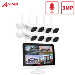 ANRAN 3MP Security Surveillance Camera Kit 13-inch Wireless Monitor NVR System Wifi Audio CCTV Camera Kit Outdoor Camera System