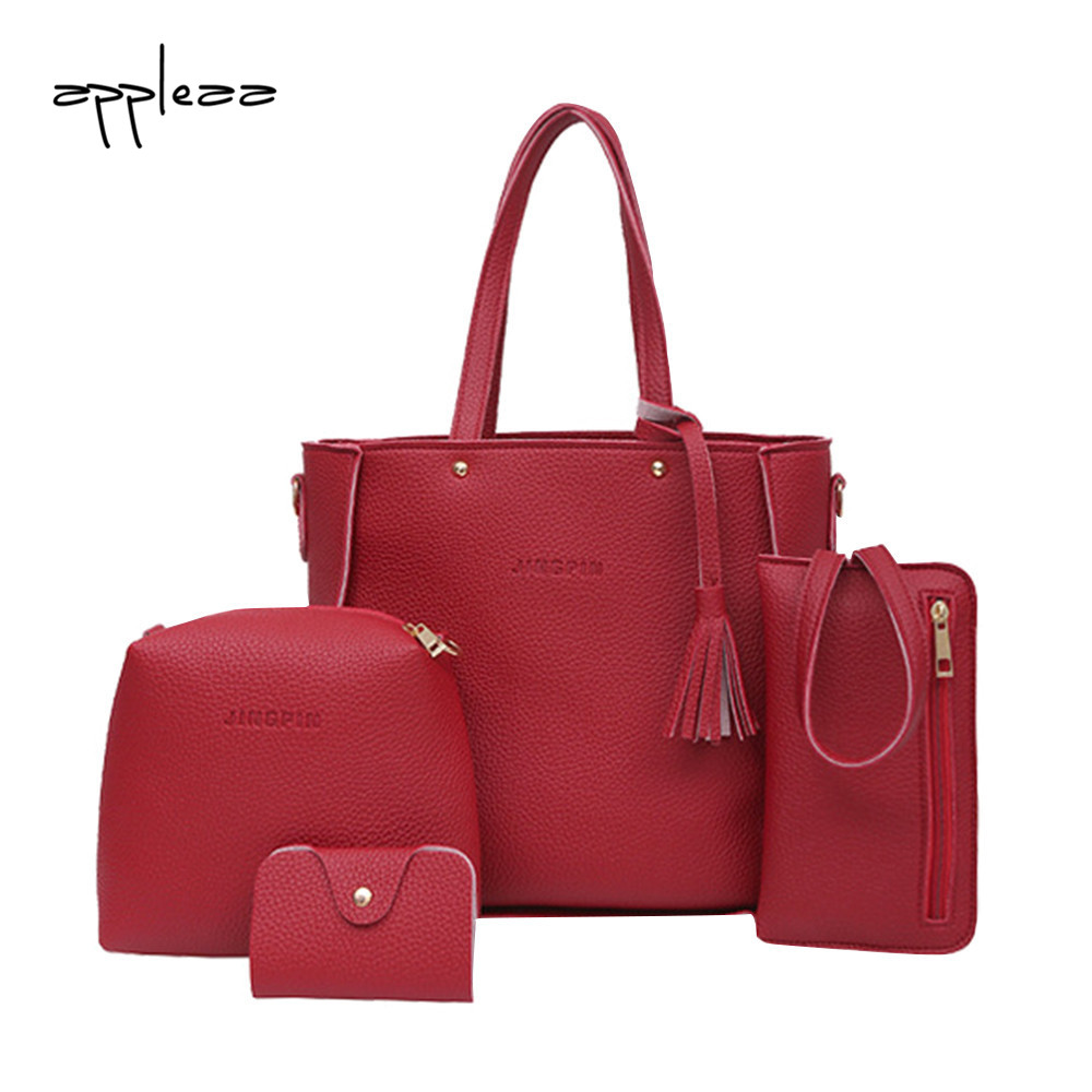 Composite Bag 2019Top Women Four Set Handbag Shoulder Bags Four Pieces Tote Bag Crossbody Wallet Bags