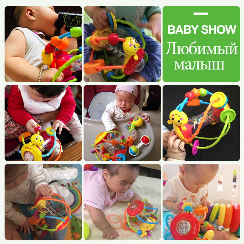 HOLA 929 детская погремушка для новорожденных 0-12 месяцев Обучающие Игрушки для раннего развития для младенцев детская игрушка-погремушка детская головоломка