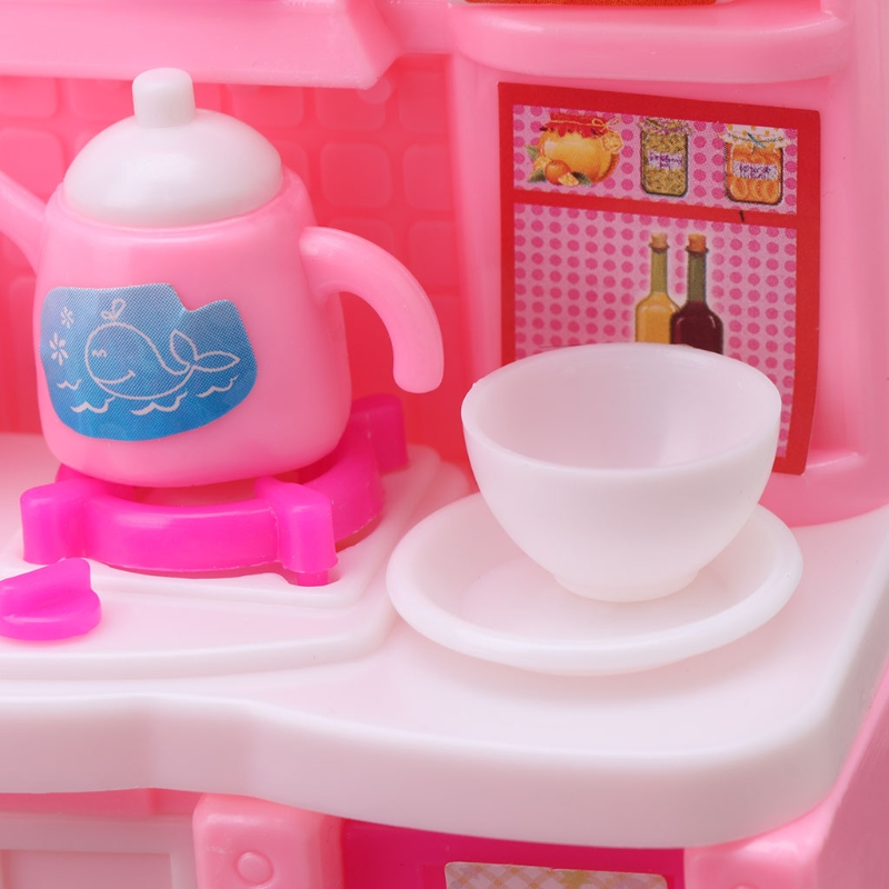 Kitchen Furniture Accessories For Barbie Dolls Dinnerware Cabinet Kids Toy Girl Gift Y4QA