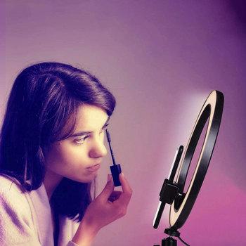 14 10 6 cala oświetlenie fotograficzne Mini LED Desktop lampa pierścieniowa bezstopniowe przyciemnianie z stojak trójnóg wtyczka USB do YouTube Video Live tanie i dobre opinie NoEnName_Null 3300-5600 k USB charge Beauty Face and skin White light Warm light Warm White light 6inch 10 inch 14 inch