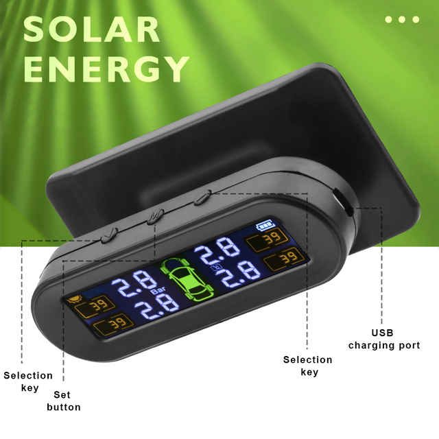 FORAUTO Tyre Pressure Sensor With 4 External Sensors Temperature Warning Fuel Save Car Tire Pressure Monitor System Solar TPMS 2