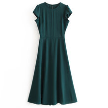 Elegant Fashion Long Dress Short Sleeve O neck Female Casual 2021 Summer Side Split Clothes Backless