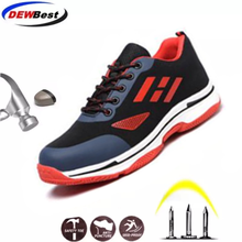 Мужская Повседневная дышащая рабочая обувь со стальным носком; Летние сетчатые ботинки с защитой от прокалывания на строительной площадке; большие размеры
