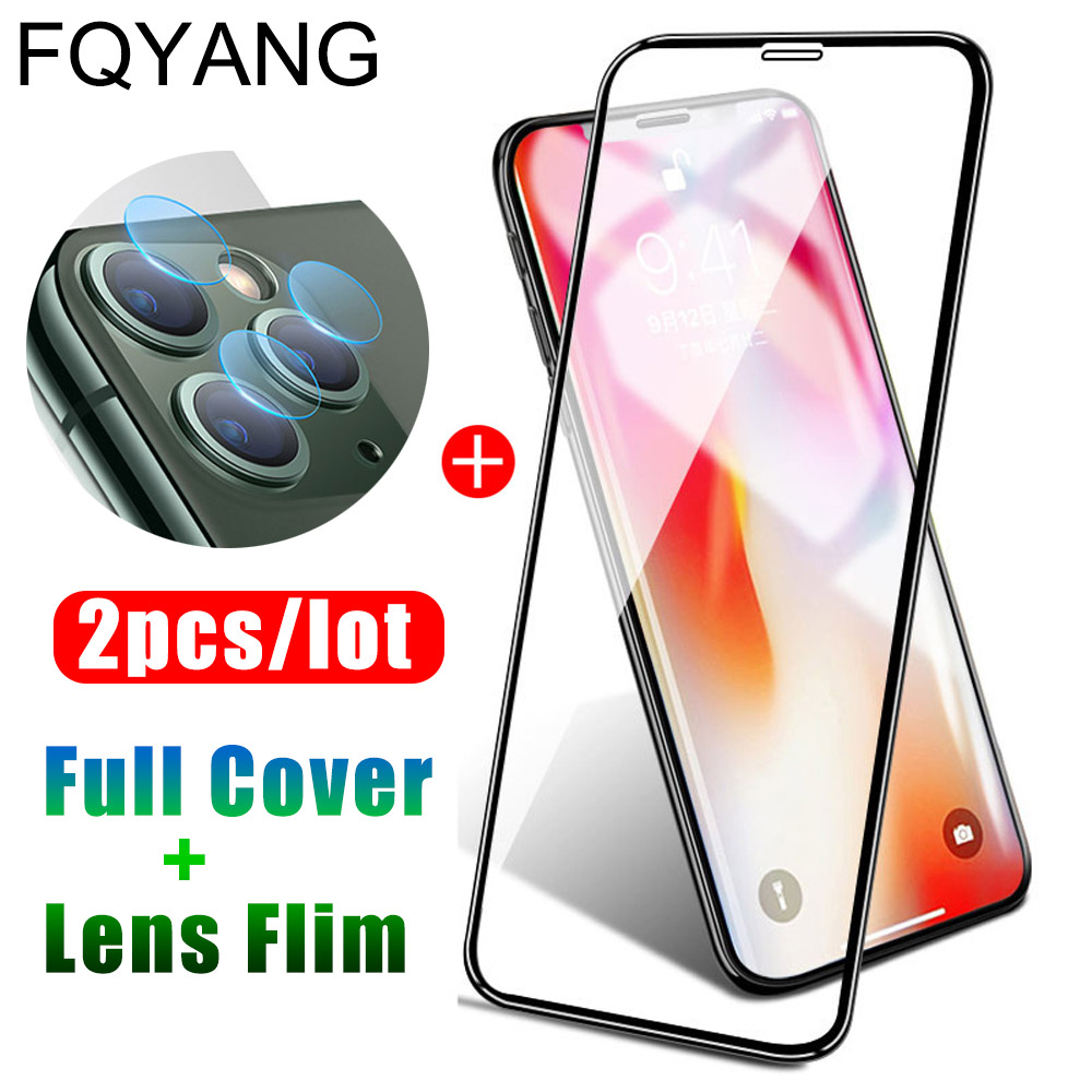 2 In 1 Full Cover Tempered Glass For IPhone 11 Pro Max Screen Protector Lens Camera Film For IPhone Xs Max Xr X 8 7 Plus Glass