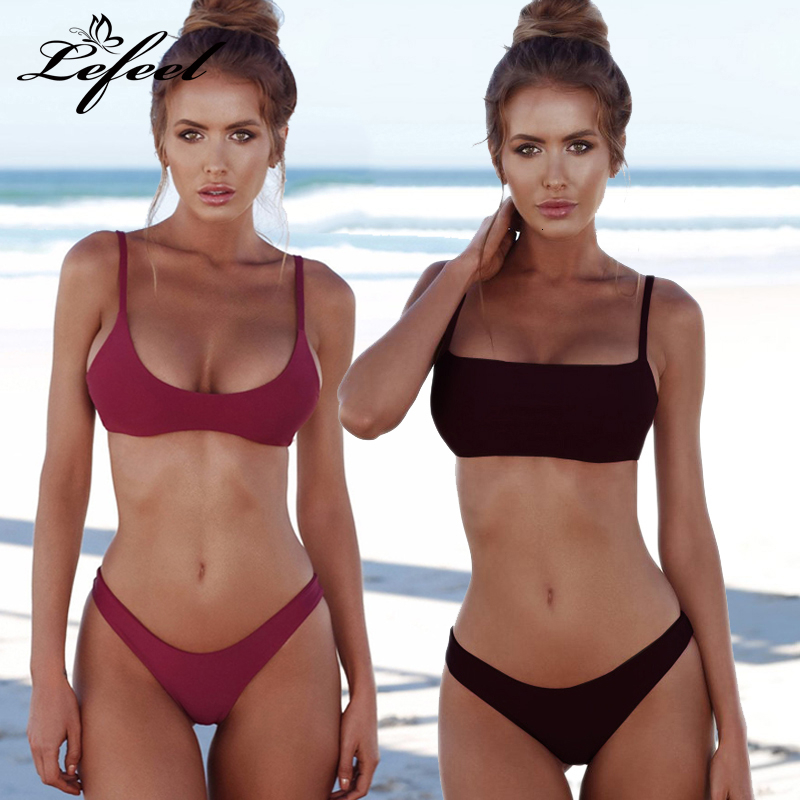 Lefeel Solid Bikini Set Women Sexy Brazilian Swimsuit Bikinis Summer Tube Top Swimwear Low Waist Bathing Suit Female Biquini