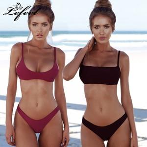 Lefeel Solid Bikini Set Women Sexy Brazilian Swimsuit Bikinis Summer Tube Top Swimwear Low Waist Bathing Suit Female Biquini