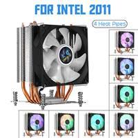 Cpu cooler fan 4 heatpipelipes cobre para aurora luz ventilador de refrigeração 90mm com rgb para intel lga 2011 cpu cooler radiador do dissipador calor|Ventiladores e resfriadores| |  -
