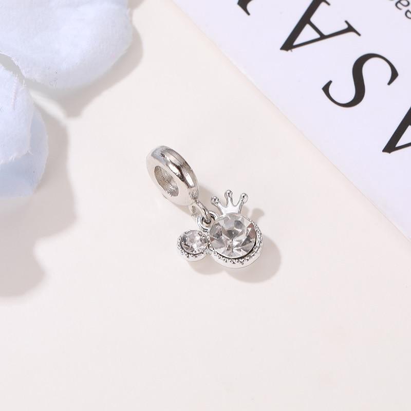 Посеребренный бисер Сплав Кристалл Микки Корона качающаяся подвеска Pandora браслет DIY женские ювелирные изделия