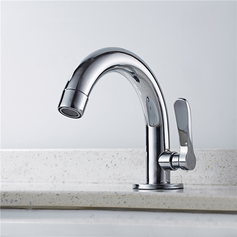 Bathroom Basin Sink Faucet Stainless Steel Kitchen Faucet Single Cold Water Tap Deck Mounted Single Hole Bathroom Washbasin Tap