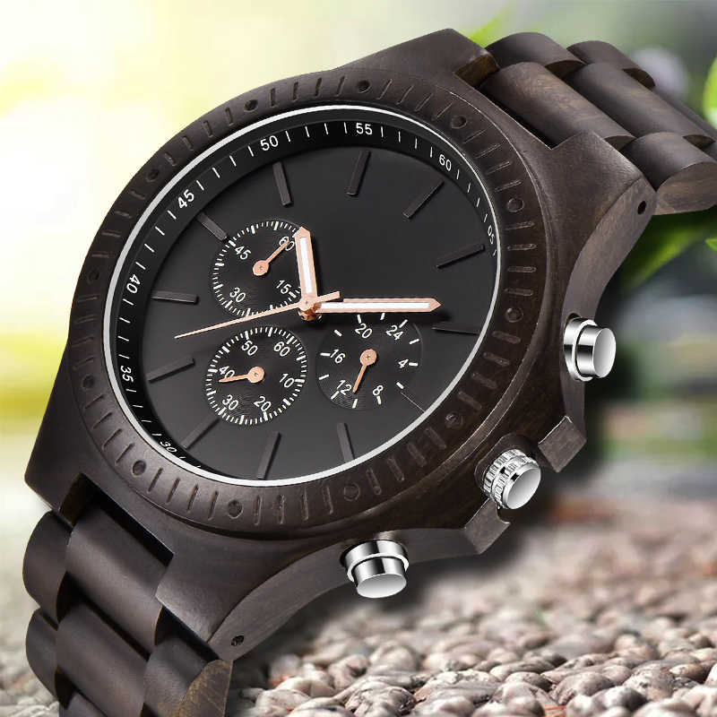 Relojes de madera para hombre, relojes casuales de madera con estilo cronógrafo de cuarzo, relojes deportivos para exteriores, reloj de madera militar, regalo para hombre