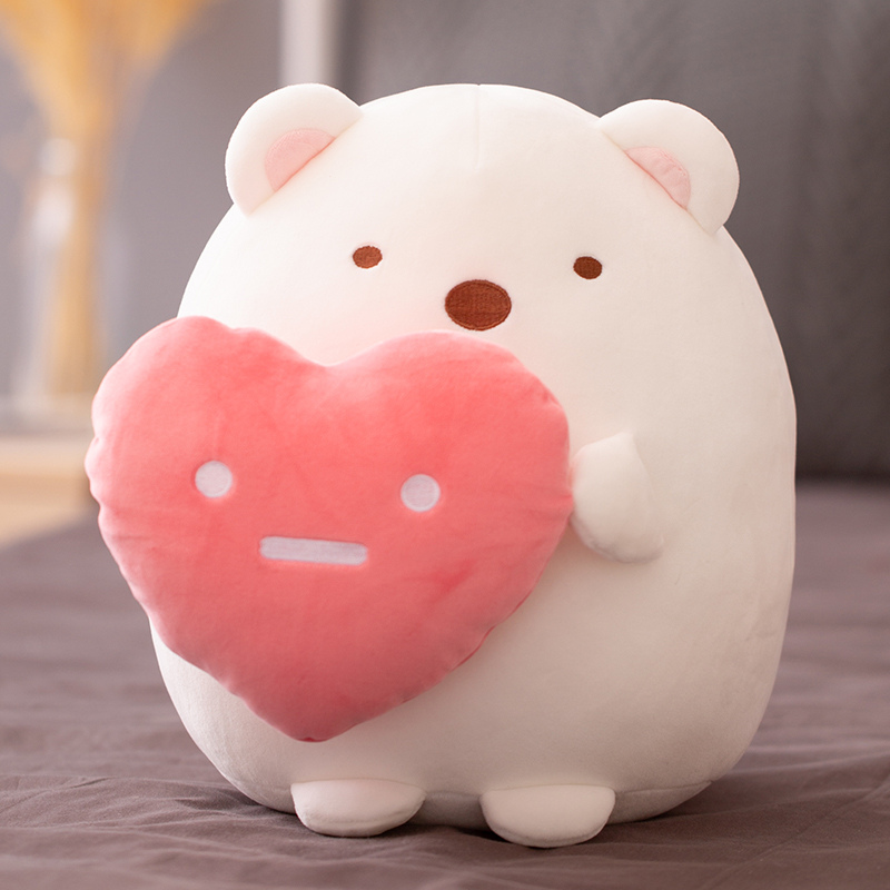Sumikkogurashi Cat Polar Bear Love Heart Plush Doll Charm Keychain for Lovers