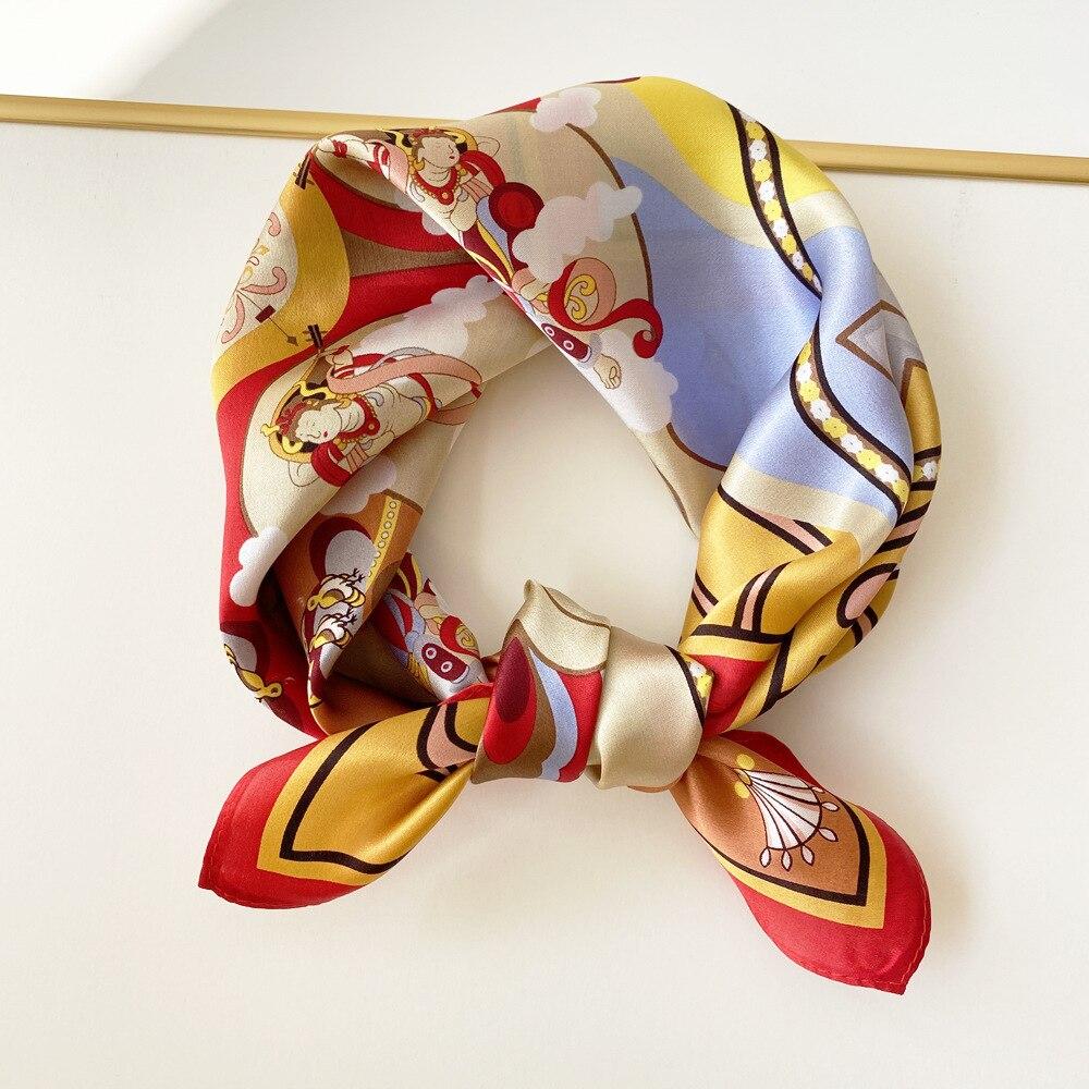 FreeShip 100% Mulberry Silk (53cmX53cm) New Fashion Color Matching Cashew Silk Scarf Simple Polka Dot Square Scarf