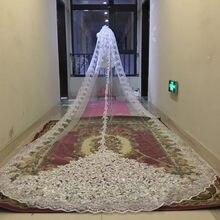 Lantejoulas espumantes noiva catedral véus de noiva borda do laço 1 camada com pente de metal 5 metros longo véu casamento acessórios