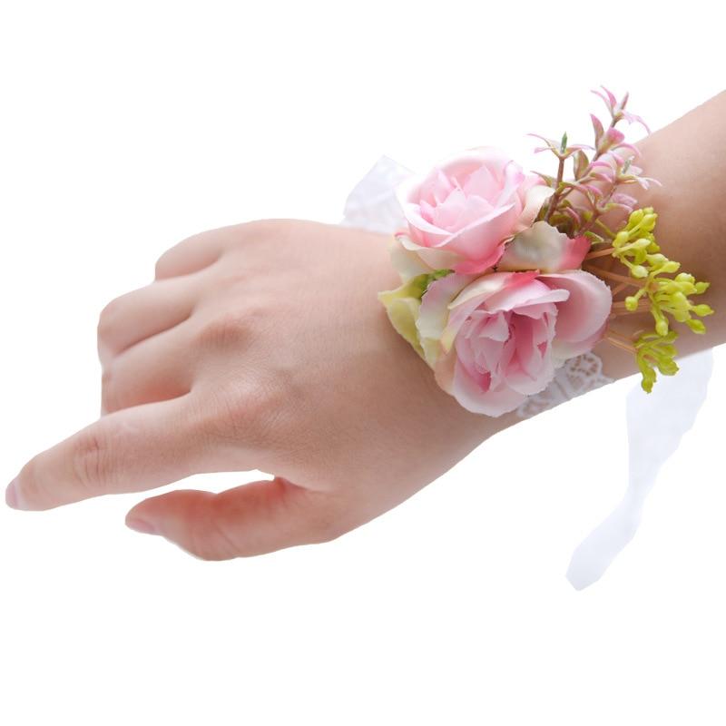Hand Corsage Flower Boutonniere Bridemaids Accessoirs Wedding Corsages Flower Bracelet For Bridesmaid Rose Brooch Silk Wristband