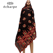 New African Women Cotton Scarf emrbodery muslim women scarfs for shawls wraps