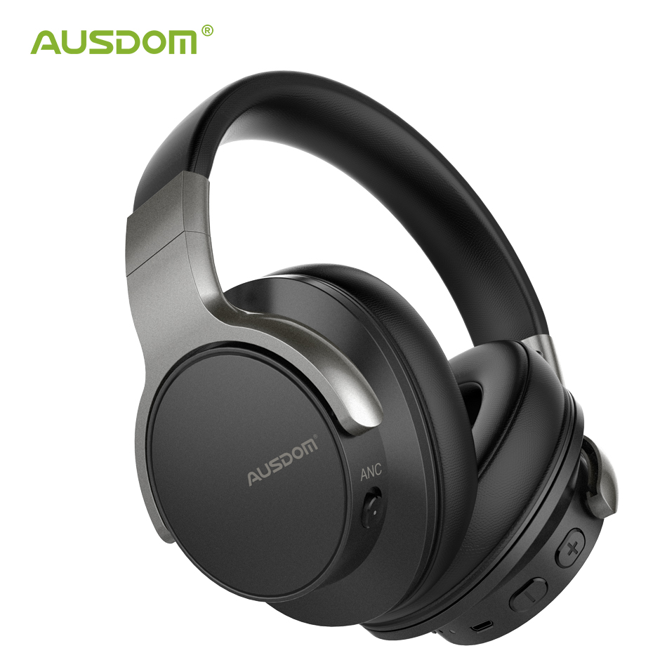 AUSDOM ANC8 Active Noise Cancelling Wireless Headphones Bluetooth 5.0 Headset with Mic Handfree 30H Playtime For IOS Android