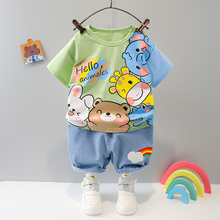 2021 Hot Clothes Sets Baby Kids Outfits Boys Summer 1 2 3 4 Years Cartoon Animal Short Cotton T-shirt Printed Clothing