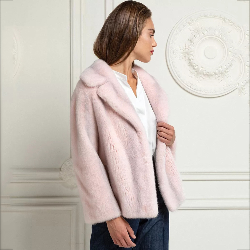 TOPFUR Pink Genuine Leather Jackets Lapel Collar Natural Mink Fur Coat Plus Size Winter Coat Women Spring Jackets Real Fur Coats