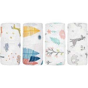 4 упаковки, Детские муслиновые пеленальные одеяла, Мягкая Унисекс пеленальная обертка для мальчиков и девочек, лисы/лося/Слоны 43x47 дюймов