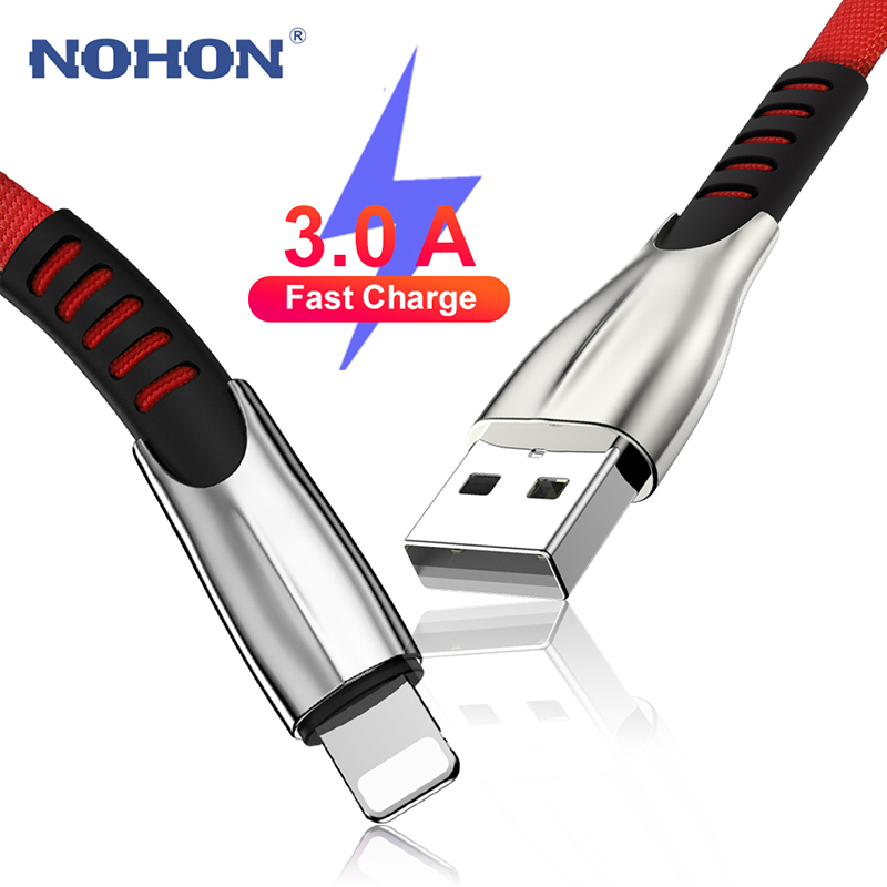 3A Fast Charging USB Cable For iPhone X XR Xs Max 11 Pro 8 7 6 6s Plus 5 5s iPad Mini 1m 2m 3m Long Wire Phone Charger Data Cord