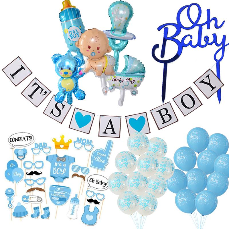 Baby Shower Boy Girl Decorations It's A Boy It's A Girl Balloon Oh Baby Cake Topper Photo Props Gender Reveal Kid Party Supplies