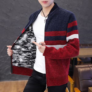 Warm Thick Sweater Men Korean Style Mens Knitted Cardigan Sweater Slim Striped Winter Clothes for Men Zipper Clothes Long Sleeve